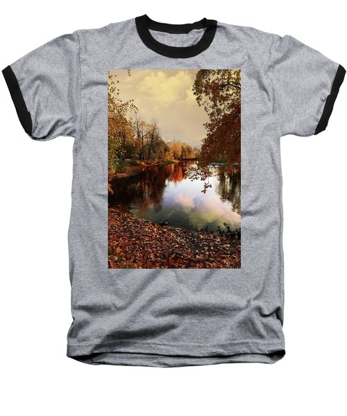 a quiet evening in a city Park painted in bright colors of autumn Baseball T-Shirt