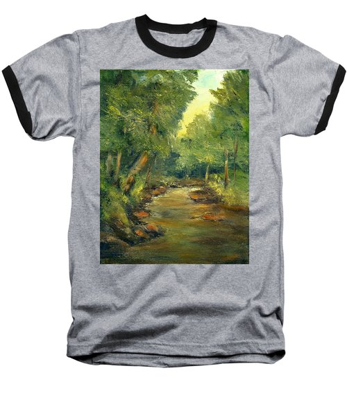 Baseball T-Shirt featuring the painting A Quiet Place by Gail Kirtz