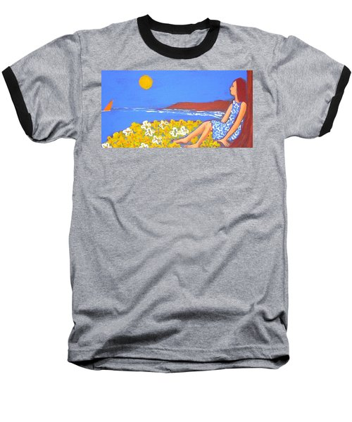 Baseball T-Shirt featuring the painting A Quiet Place by Winsome Gunning