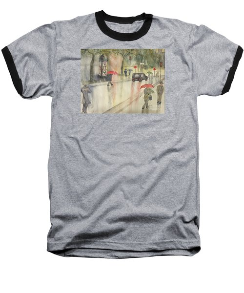 Baseball T-Shirt featuring the painting A Rainy Streetscene  by Lucia Grilletto