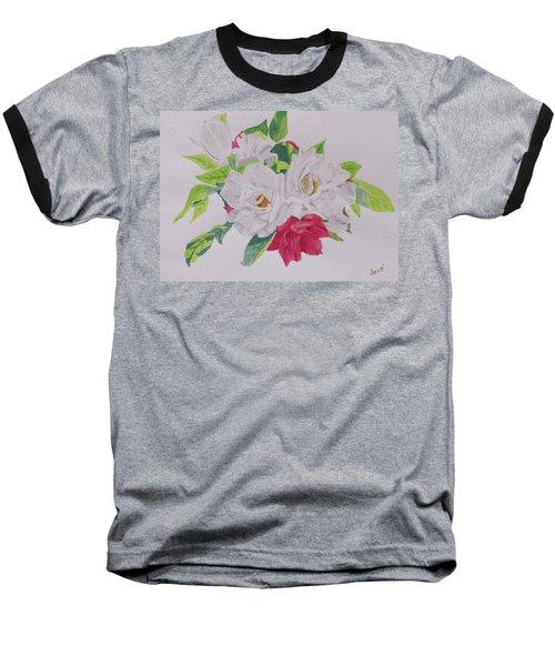 A Rose Bouquet Baseball T-Shirt by Hilda and Jose Garrancho
