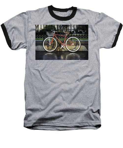 A Red Bicycle Near Jackson Square, New Orleans, Louisian Baseball T-Shirt