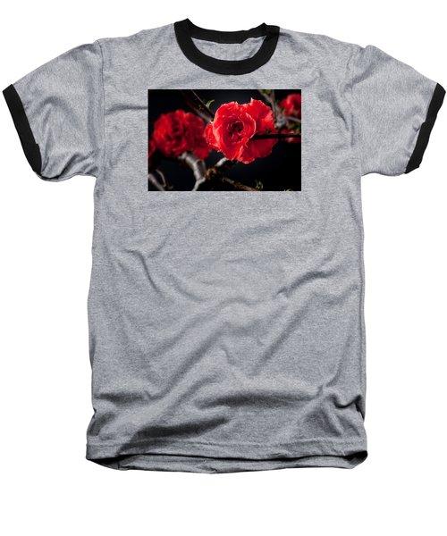 A Red Flower Baseball T-Shirt