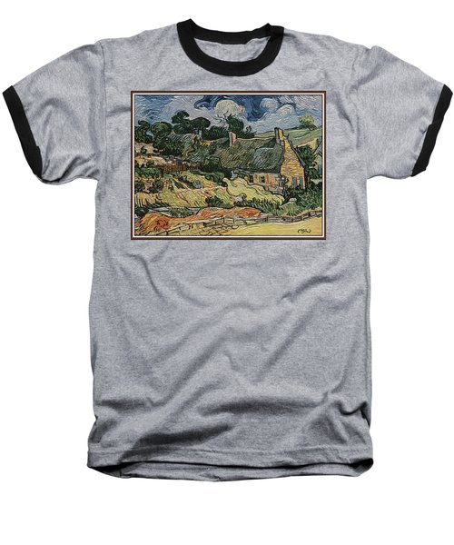 Baseball T-Shirt featuring the digital art a replica of the landscape of Van Gogh by Pemaro