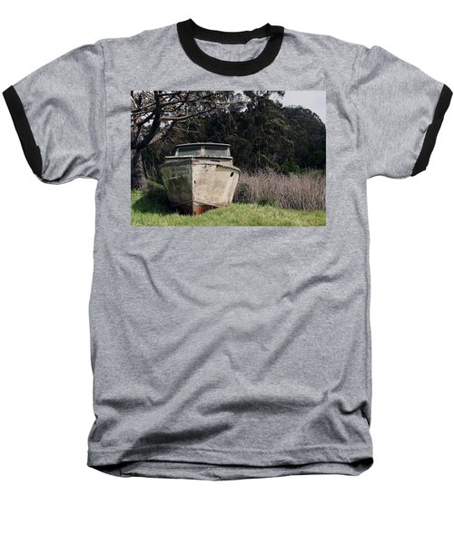 A Retired Old Fishing Boat On Dry Land In Bodega Bay Baseball T-Shirt