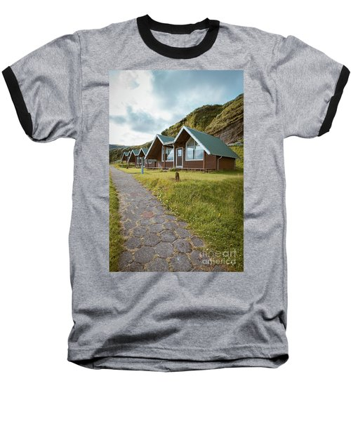 Baseball T-Shirt featuring the photograph A Row Of Cabins In Iceland by Edward Fielding