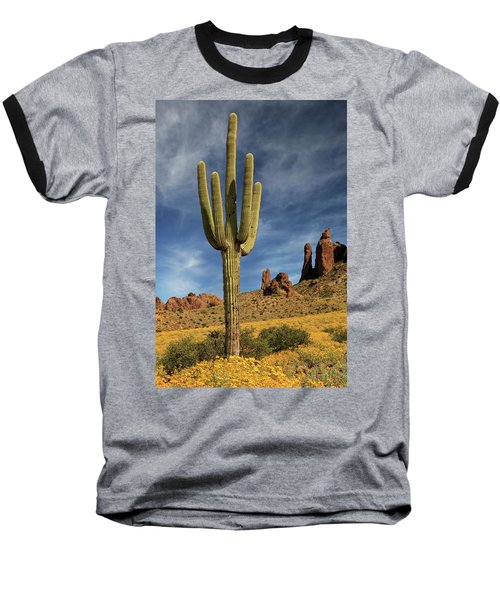A Saguaro In Spring Baseball T-Shirt by James Eddy