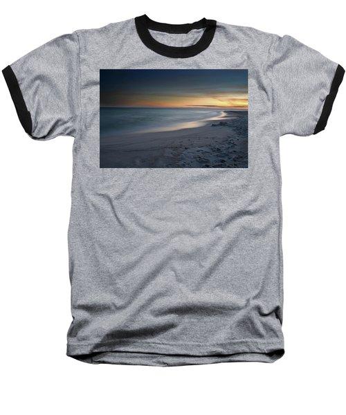 A Sandy Shoreline At Sunset Baseball T-Shirt by Renee Hardison