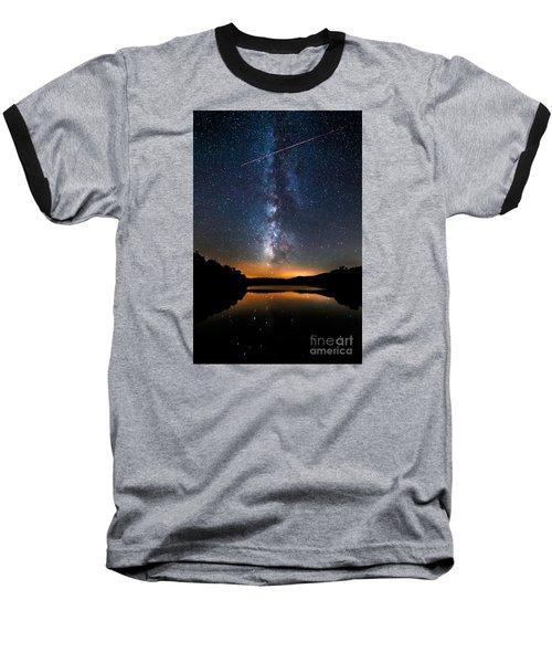A Shooting Star Baseball T-Shirt by Robert Loe