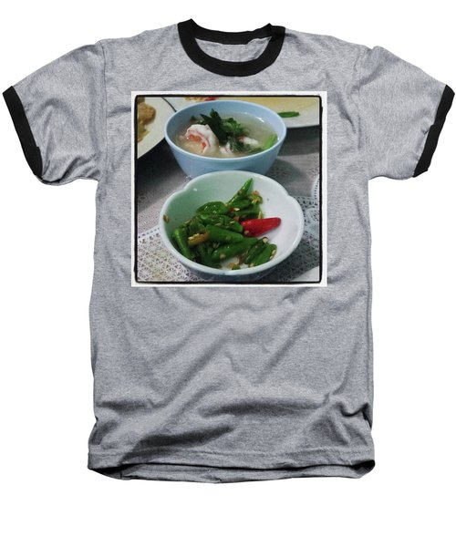 Baseball T-Shirt featuring the photograph A Side Of Tom Yum Goon With Your by Mr Photojimsf