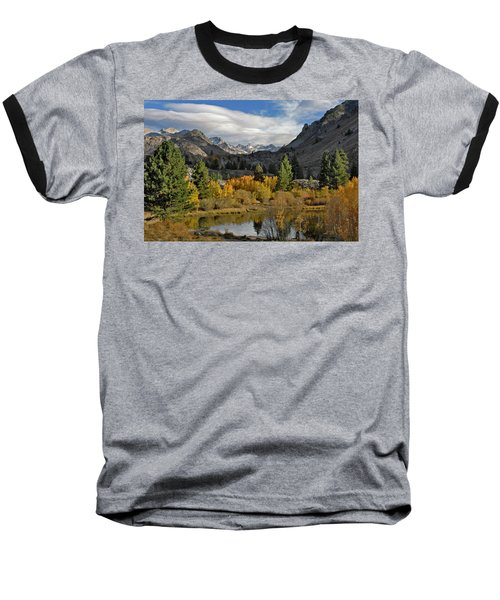 A Sierra Mountain View Baseball T-Shirt by Dave Mills