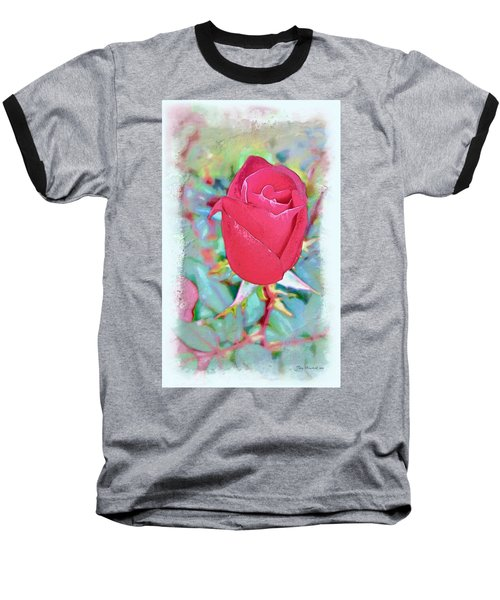 Baseball T-Shirt featuring the photograph A Single Rose In October by Joan  Minchak
