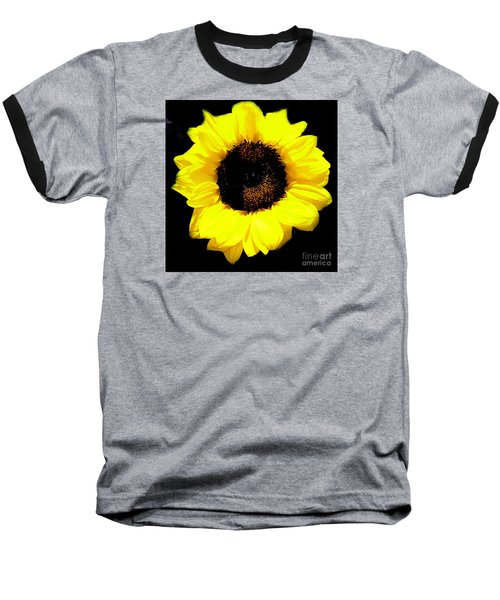 A Single Sunflower Baseball T-Shirt by Merton Allen