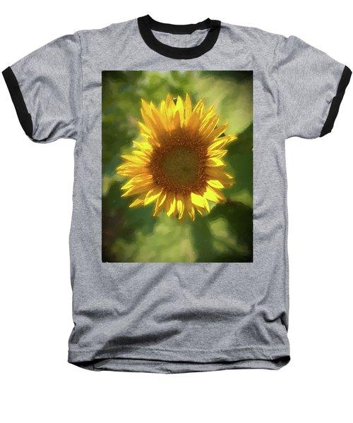 A Single Sunflower Showing It's Beautiful Yellow Color Baseball T-Shirt