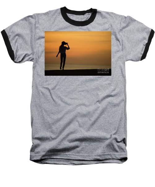 A Slim Woman Walking At Sunset Baseball T-Shirt