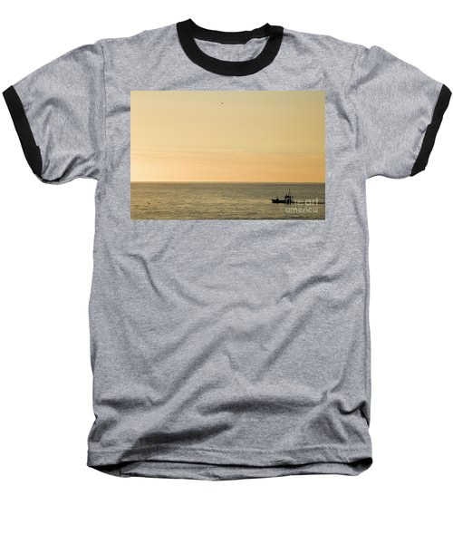 A Small Fishing Boat In Sunset Over Cardigan Bay Aberystwyth Ceredigion West Wales Baseball T-Shirt