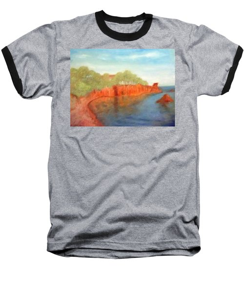 A Small Inlet Bay With Red Orange Rocks Baseball T-Shirt