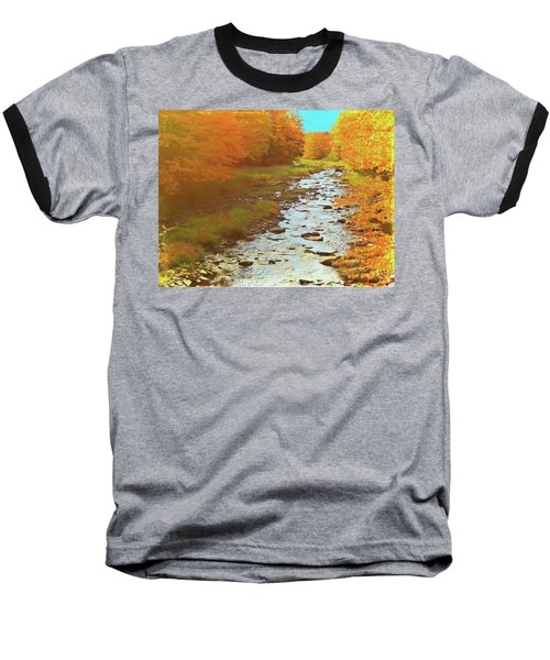 A Small Stream Bright Fall Color. Baseball T-Shirt