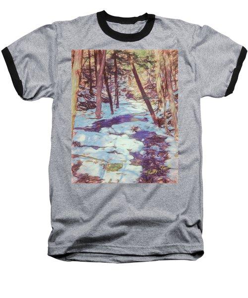 A Small Stream Meandering Through Winter Landscape. Baseball T-Shirt