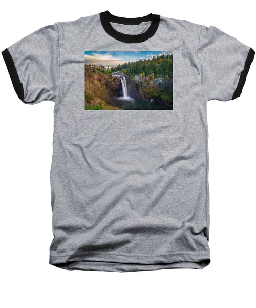 Baseball T-Shirt featuring the photograph A Snoqualmie Falls  Autumn by Ken Stanback