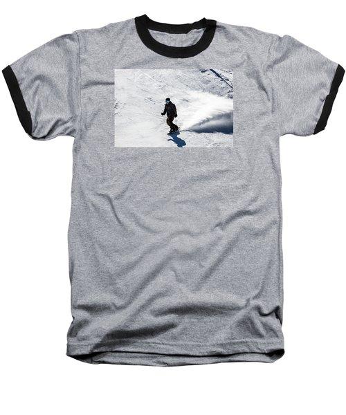 A Snowboarder Descends Aspen Mountain Baseball T-Shirt by Carol M Highsmith