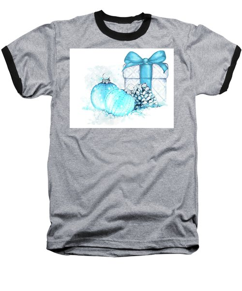 Baseball T-Shirt featuring the painting A Sparkly Blue Christmas by Heidi Kriel
