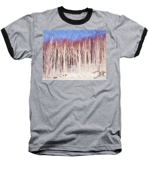 A Stand Of White Birch Trees In Winter. Baseball T-Shirt