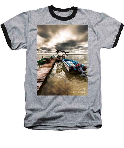 A Storm Brewing Baseball T-Shirt by Lawrence Burry