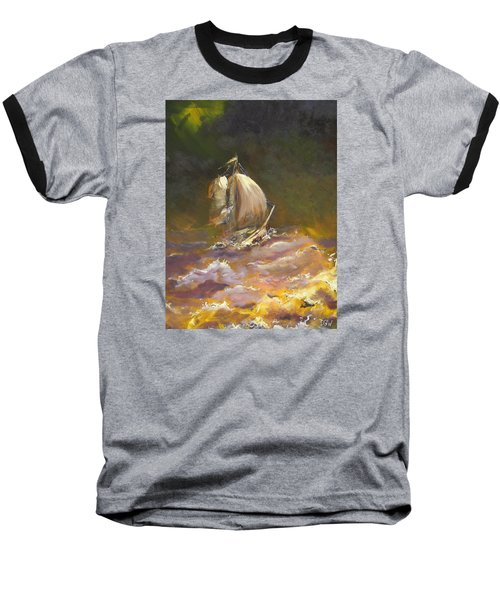 Baseball T-Shirt featuring the painting A Stormy Night At Sea by Dan Whittemore