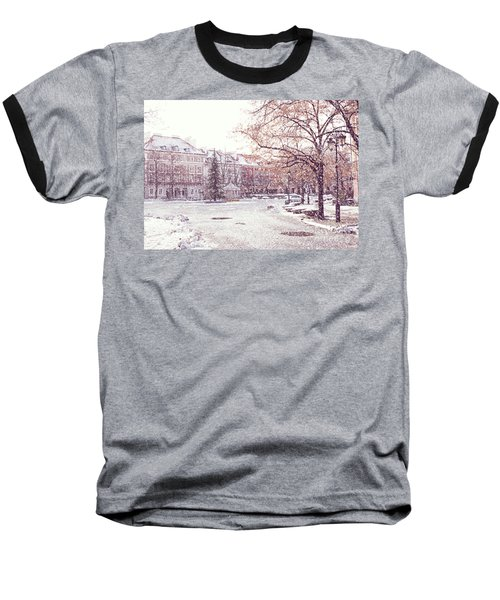 Baseball T-Shirt featuring the photograph A Street In Warsaw, Poland On A Snowy Day by Juli Scalzi