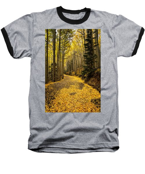 A Stroll Among The Golden Aspens  Baseball T-Shirt