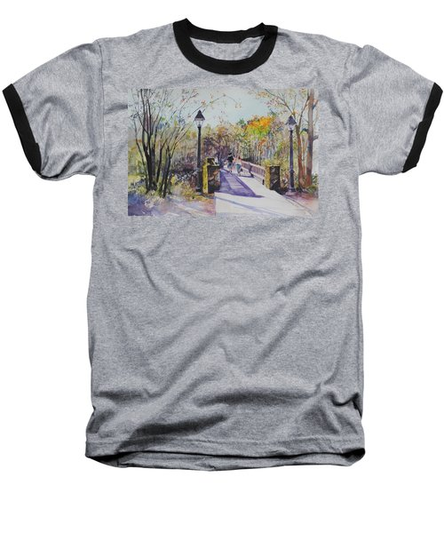A Stroll On The Bridge Baseball T-Shirt by P Anthony Visco