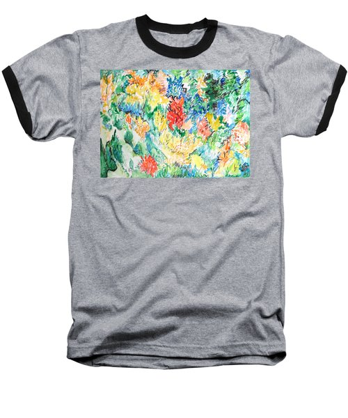 A Summer Garden Frolic Baseball T-Shirt by Esther Newman-Cohen
