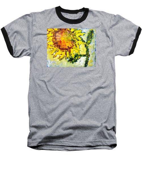 A Sunflower Greeting Baseball T-Shirt by Lynda Cookson