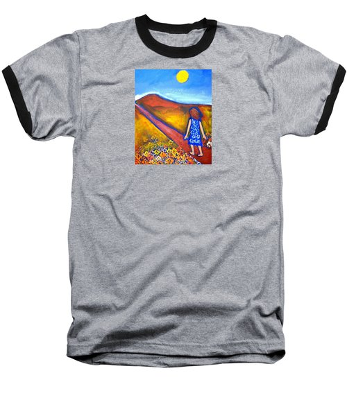 Baseball T-Shirt featuring the painting A Sunny Path by Winsome Gunning