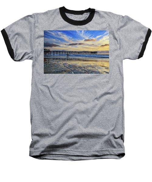 A Surfer Heads Home Under A Cloudy Sunset At Crystal Pier Baseball T-Shirt