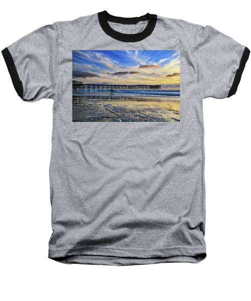 A Surfer Heads Home Under A Cloudy Sunset At Crystal Pier Baseball T-Shirt