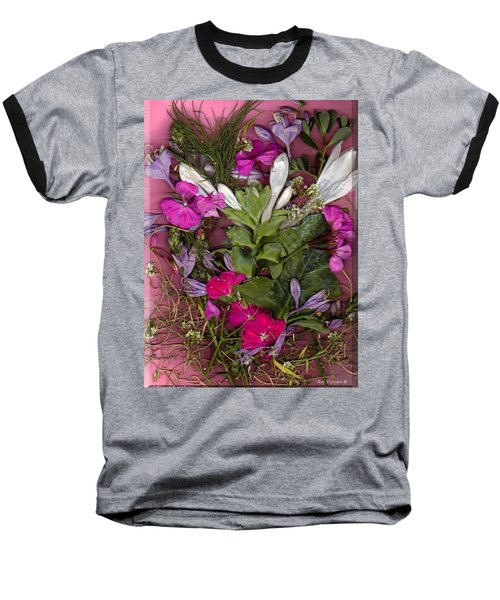 Baseball T-Shirt featuring the digital art A Symphony Of Flowers by Ray Tapajna