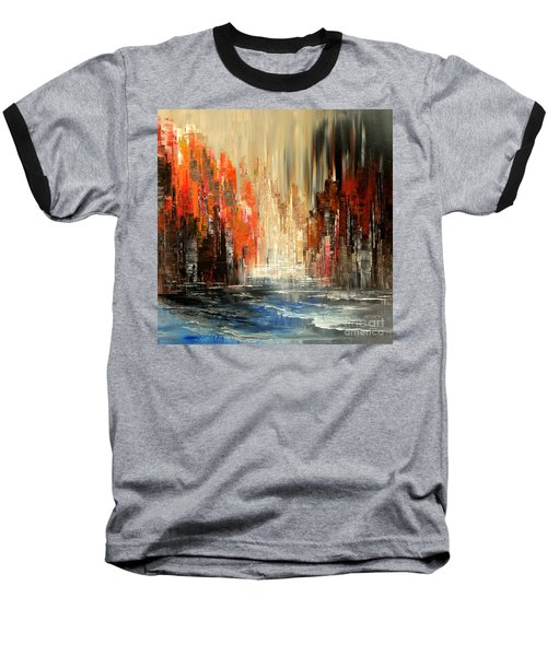 Baseball T-Shirt featuring the painting A Tale Of Two Cities by Tatiana Iliina