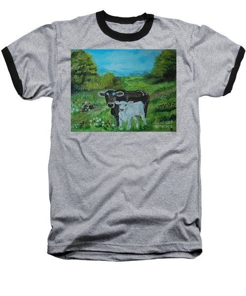 Baseball T-Shirt featuring the painting A Tender Love by Leslie Allen