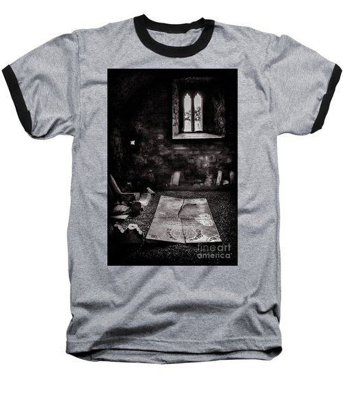 Baseball T-Shirt featuring the photograph A Tombstone In Sligo Abbey Bw by RicardMN Photography