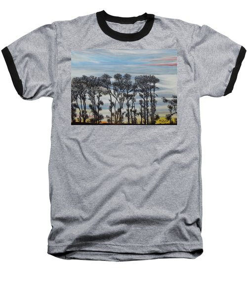 Baseball T-Shirt featuring the painting A Treeline Silhouette by Marilyn  McNish