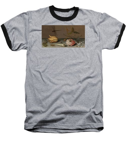 A Tulip, A Carnation, Spray Of Forget-me-nots, With A Shell, A Lizard And A Grasshopper, On A Ledge Baseball T-Shirt