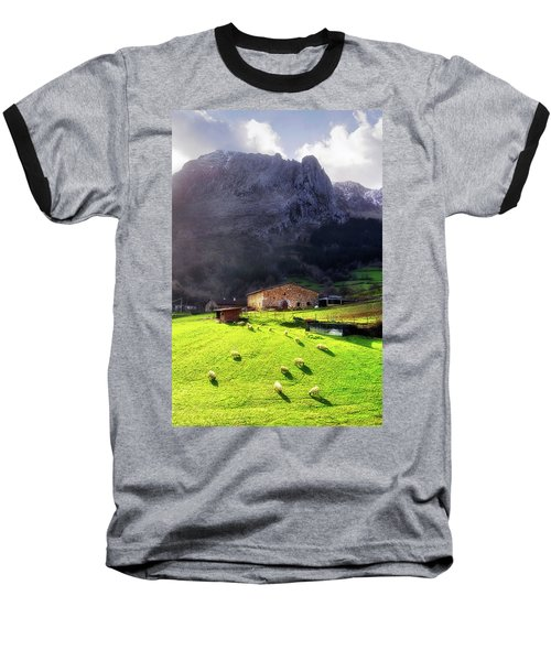 A Typical Basque Country Farmhouse With Sheep Baseball T-Shirt