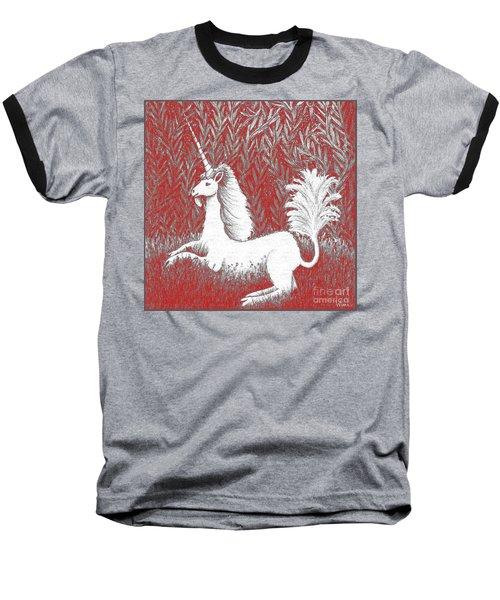 A Unicorn In Moonlight Tapestry Baseball T-Shirt