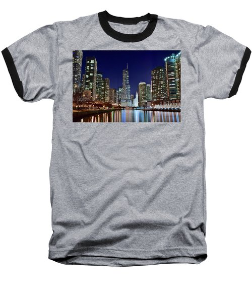 A View Down The Chicago River Baseball T-Shirt by Frozen in Time Fine Art Photography
