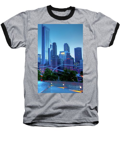 A View Of Millenium Park From The Amoco Bridge In Chicago At Dus Baseball T-Shirt