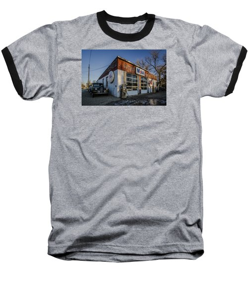 A Vintage Gas Station And Vintage Cars In Early Morning Light Baseball T-Shirt