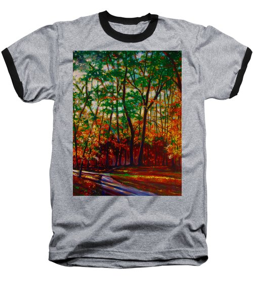 Baseball T-Shirt featuring the painting A Walk In The Park by Emery Franklin