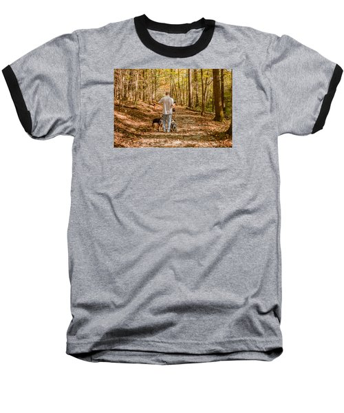 A Walk In The Woods Baseball T-Shirt by Cathy Donohoue